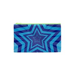 Abstract Starburst Blue Star Cosmetic Bag (xs)