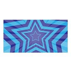 Abstract Starburst Blue Star Satin Shawl