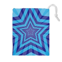 Abstract Starburst Blue Star Drawstring Pouches (extra Large)