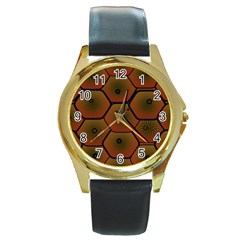 Art Psychedelic Pattern Round Gold Metal Watch