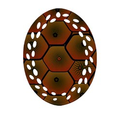 Art Psychedelic Pattern Oval Filigree Ornament (two Sides)