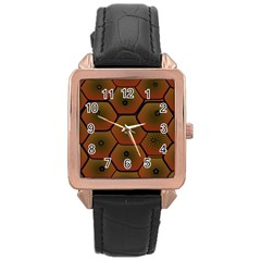 Art Psychedelic Pattern Rose Gold Leather Watch