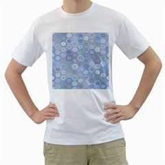 Bee Hive Background Men s T-Shirt (White) (Two Sided)