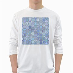 Bee Hive Background White Long Sleeve T Shirts