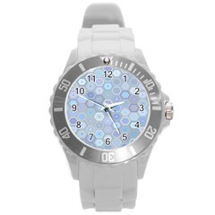 Bee Hive Background Round Plastic Sport Watch (l)