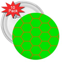Bee Hive Texture 3  Buttons (10 Pack)