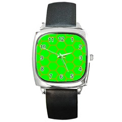 Bee Hive Texture Square Metal Watch