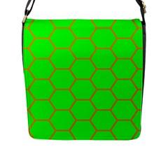 Bee Hive Texture Flap Messenger Bag (l)