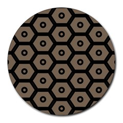 Black Bee Hive Texture Round Mousepads