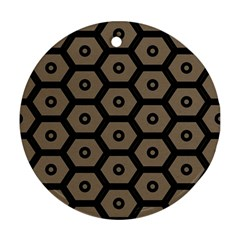 Black Bee Hive Texture Ornament (round)