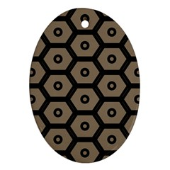 Black Bee Hive Texture Ornament (Oval)