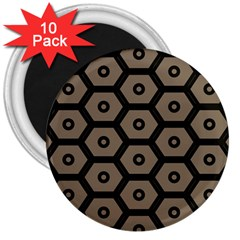Black Bee Hive Texture 3  Magnets (10 Pack)