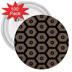 Black Bee Hive Texture 3  Buttons (100 pack)