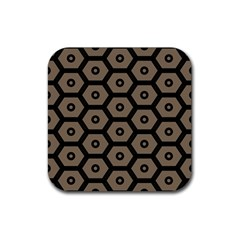 Black Bee Hive Texture Rubber Square Coaster (4 Pack)