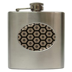 Black Bee Hive Texture Hip Flask (6 Oz)