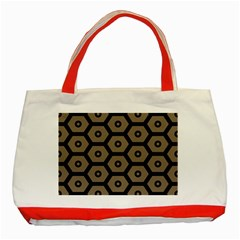 Black Bee Hive Texture Classic Tote Bag (red)