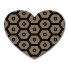 Black Bee Hive Texture Heart Mousepads