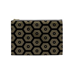Black Bee Hive Texture Cosmetic Bag (medium)