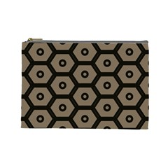 Black Bee Hive Texture Cosmetic Bag (large)
