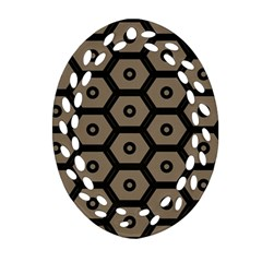 Black Bee Hive Texture Oval Filigree Ornament (two Sides)