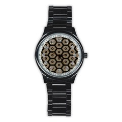Black Bee Hive Texture Stainless Steel Round Watch