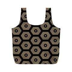 Black Bee Hive Texture Full Print Recycle Bags (m)