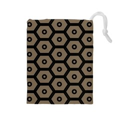 Black Bee Hive Texture Drawstring Pouches (large)