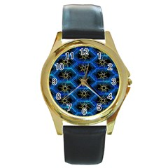 Blue Bee Hive Round Gold Metal Watch