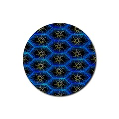 Blue Bee Hive Rubber Coaster (round)