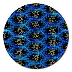Blue Bee Hive Magnet 5  (round)