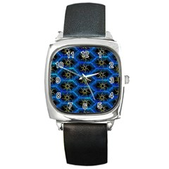 Blue Bee Hive Square Metal Watch