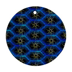 Blue Bee Hive Round Ornament (two Sides)