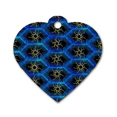 Blue Bee Hive Dog Tag Heart (one Side)