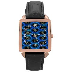 Blue Bee Hive Rose Gold Leather Watch
