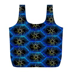 Blue Bee Hive Full Print Recycle Bags (l)
