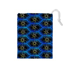 Blue Bee Hive Drawstring Pouches (medium)