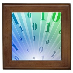 Blue Binary Background Binary World Binary Flow Hand Framed Tiles