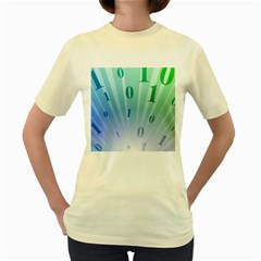 Blue Binary Background Binary World Binary Flow Hand Women s Yellow T Shirt