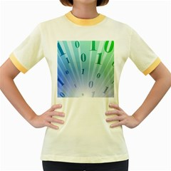 Blue Binary Background Binary World Binary Flow Hand Women s Fitted Ringer T-Shirts