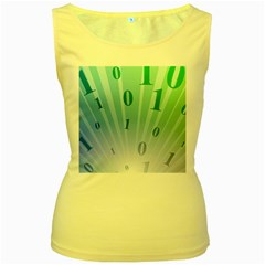 Blue Binary Background Binary World Binary Flow Hand Women s Yellow Tank Top