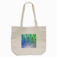 Blue Binary Background Binary World Binary Flow Hand Tote Bag (cream)