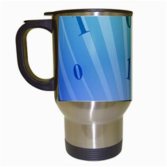 Blue Binary Background Binary World Binary Flow Hand Travel Mugs (white)
