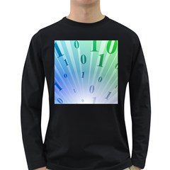 Blue Binary Background Binary World Binary Flow Hand Long Sleeve Dark T Shirts