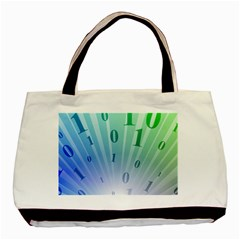 Blue Binary Background Binary World Binary Flow Hand Basic Tote Bag (Two Sides)