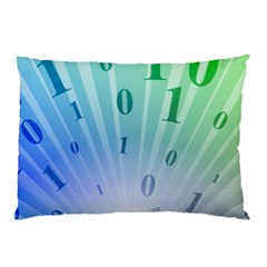 Blue Binary Background Binary World Binary Flow Hand Pillow Case