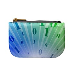 Blue Binary Background Binary World Binary Flow Hand Mini Coin Purses