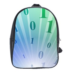 Blue Binary Background Binary World Binary Flow Hand School Bags(large)