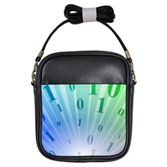Blue Binary Background Binary World Binary Flow Hand Girls Sling Bags