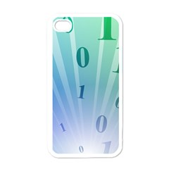 Blue Binary Background Binary World Binary Flow Hand Apple Iphone 4 Case (white)