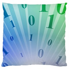 Blue Binary Background Binary World Binary Flow Hand Large Cushion Case (one Side)